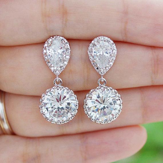 Bridal Earrings Round Cubic Zirconia Drop Dangle Wedding Jewelry Bridesmaid Gift