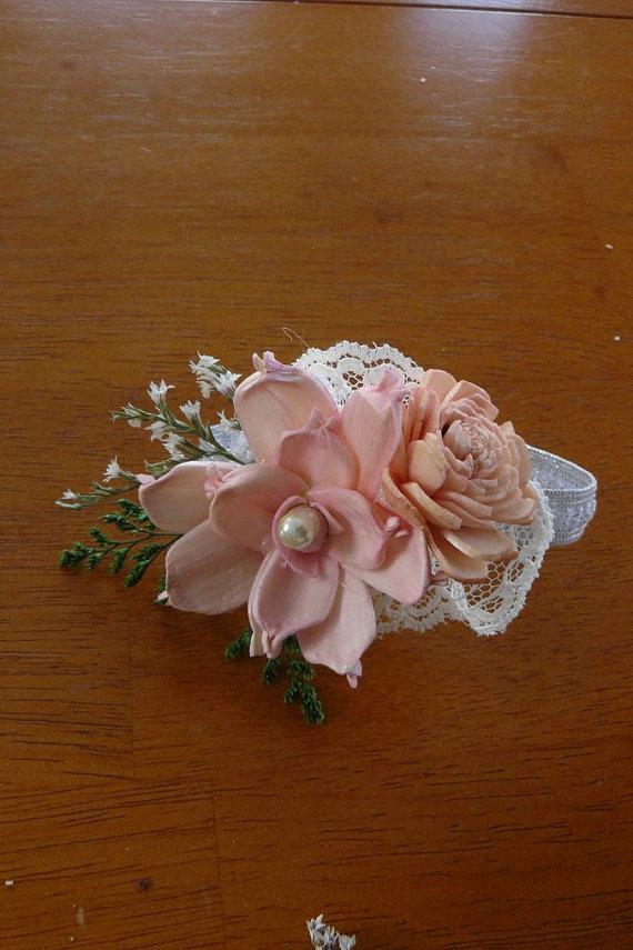 Mariage - Wedding, Corsage, Sola  Wood Corsage,Corsage,Vintage wrist corsage, Sola Bouquet