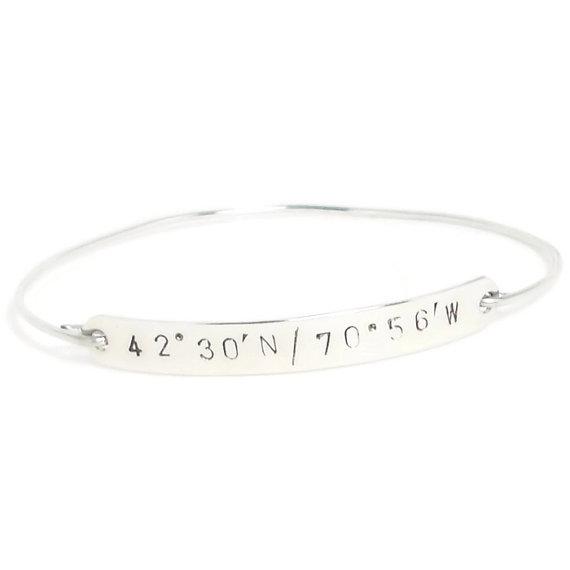 زفاف - Latitude & Longitude Silver Bangle, Personalized Bangle, Coordinate Bracelet, Customized Silver Jewelry, Silver Bracelet, Wedding Bracelet
