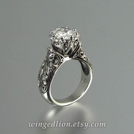 Свадьба - The ENCHANTED PRINCESS White Sapphire 14K gold engagement ring