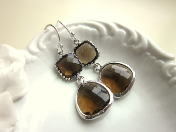 زفاف - Smoky Brown Earrings Silver Two Tier Bridesmaid Earrings - Bridal Earrings - Wedding Jewelry
