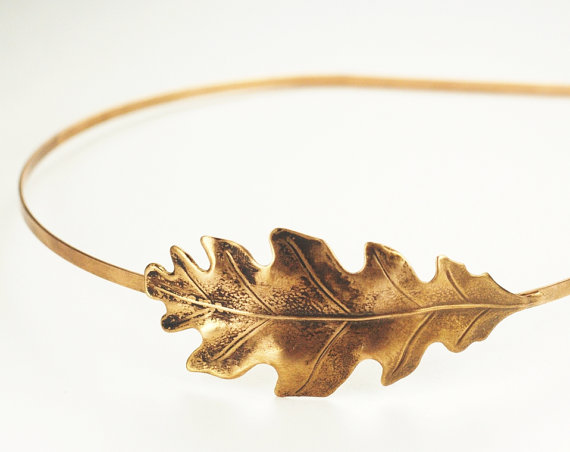 زفاف - Oak leaf headband autumn fall hair accessory copper brass bronze silver bridal wedding head piece