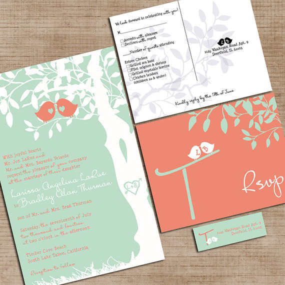 Mint Green And Coral Wedding Invitations, Custom Love Birdies ...