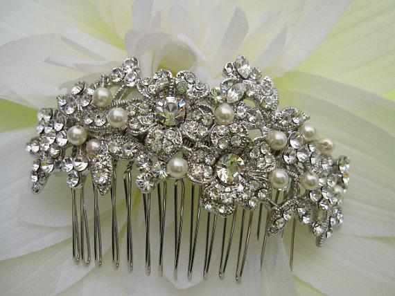 زفاف - Bridal hair comb--Vintage Inspired Ivory Pearls Bridal Silver Rhinestone comb,wedding hair accessories, wedding pearl hair comb