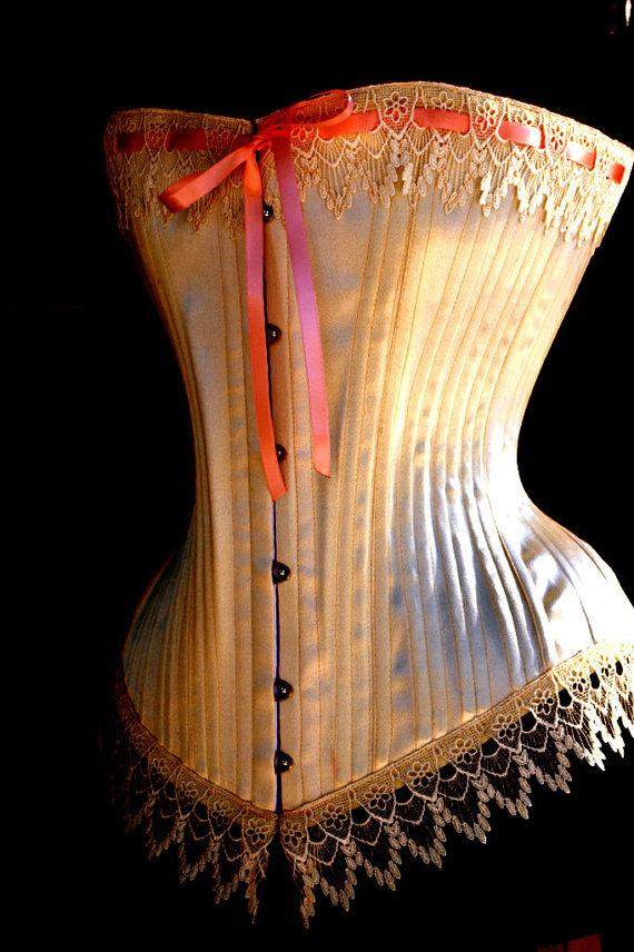 Wedding - Traditional Victorian Wedding Corset- Ivory Lingerie, wedding clothing, boned,boudoir