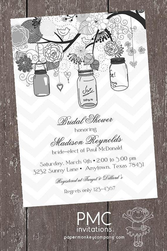 زفاف - Vintage Shabby Chic French Country Mason Jar Shower Baby Bridal Wedding Invitation - 1.00 each with envelope