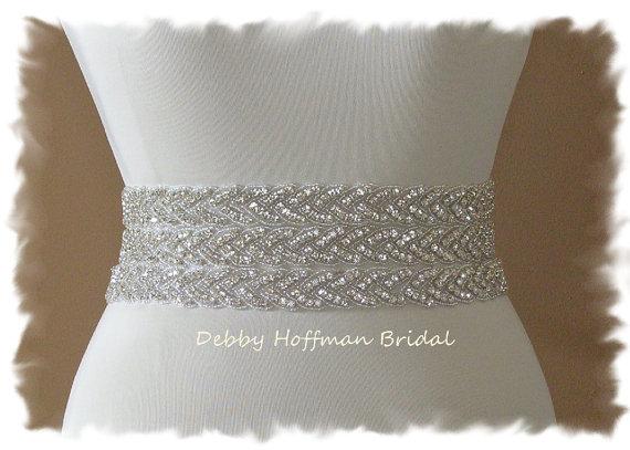 Mariage - Rhinestone Wedding Belt, Wedding Dress Sash, 18 Inch Beaded Rhinestone Crystal  No. 3010S3-18, Wedding Accessories, Bridal Belt, Bridal Sash
