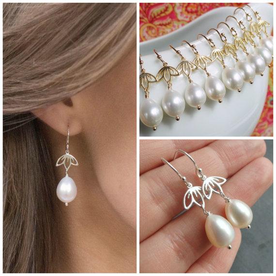 زفاف - Pearl drop earrings, Freshwater pearl earrings, bridal jewelry, Gold or Silver, Bridesmaid gifts, Teardrop earrings, real pearls
