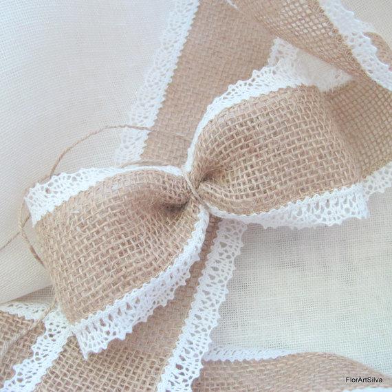زفاف - Burlap ribbon 3'', linen lace edged, Wedding chair sash ribbon, 3 yards roll, Natural and White