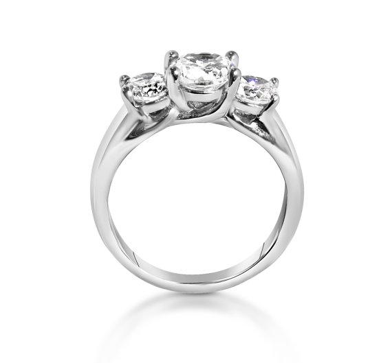 زفاف - Trellis Trilogy ring with genuine white Sapphires - Choose from Titanium or white gold - engagement ring