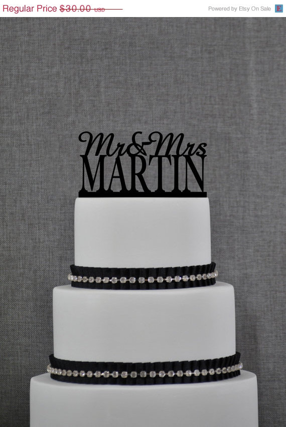 Wedding - Mr and Mrs Cake Topper, Personalized Last Name Wedding Cake Topper, Custom Wedding Topper, Elegant Wedding Topper, Unique Cake Topper (S003)