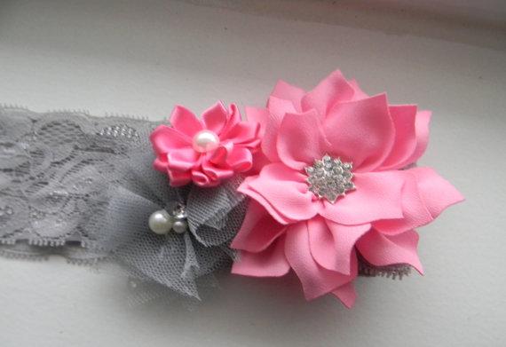 Pink grey headband pink lotus grey tulle pink satin flowers on pink grey headband pink lotus grey tulle pink satin flowers on gray elastic headband baby toddler girl infant teen wpmen wedding flower mightylinksfo