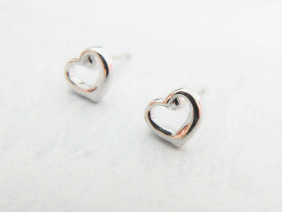 Silver Heart Earrings Small Cute Tiny Stud Wedding Jewelry Bridesmaid Gift Mom Best Friend Birthday