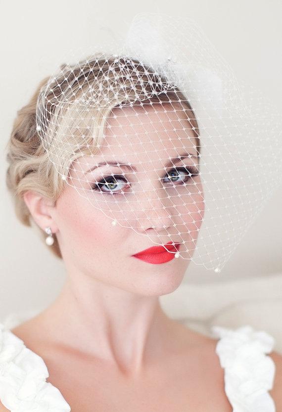 Mariage - Birdcage Veil Embellished with Swarovski Pearls, Bridal Veil, Wedding veil