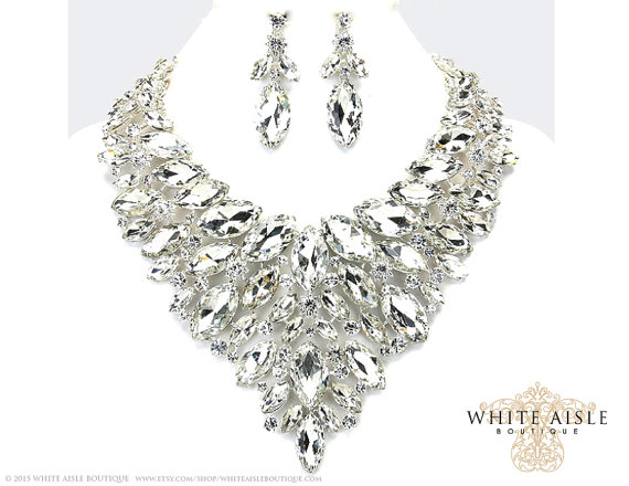 Crystal Bridal Jewelry Set Statement Necklace Back Drop Necklace Vintage Style Wedding
