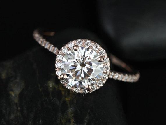 زفاف - Kimberly 7.5mm 14kt Rose Gold Round FB Moissanite and Diamonds Halo Engagement Ring (Other metals and stone options available)