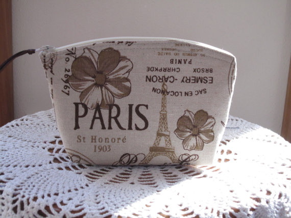 Hochzeit - Linen Clutch Cosmetic Bag  Purse Retro Vintage French Country Style  Wedding Bridesmaid Gift
