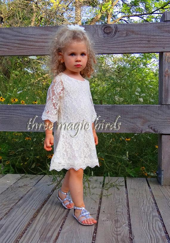 Свадьба - Flower Girl Dress-Rustic Fall Wedding-Long Sleeve Flower Girl Dress-Country Winter Flower Girl-Birthday Dress-Thanksgiving Outfit-Bridesmaid