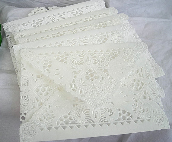 Hochzeit - Doily Paper Lace Envelopes -  Wedding Invitation Liner