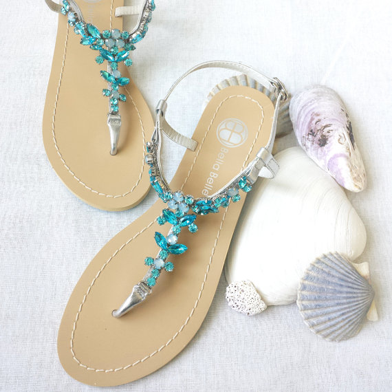Something Blue Ombre Wedding Sandals Shoes For Beach Destination Wedding With Rhinestone