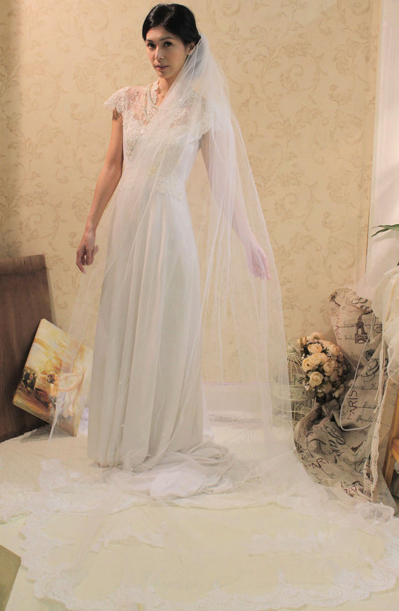 7f13561f4a211 Alencon Lace Cathedral Length Wedding Veil
