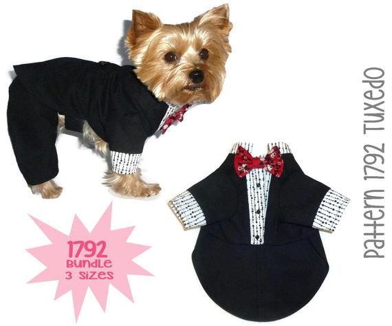 زفاف - 1792 Dog Tuxedo Pattern for the Little Dog * Bundle 3 Sizes * Instant Digital Download * Dog Clothes Sewing Pattern