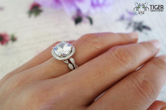 325 Carat Halo Wedding Set Vintage Inspired Bridal Rings D Color Man Made Diamonds Art Deco Engagement Promise Sterling Silver