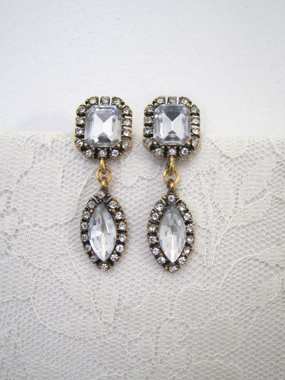 زفاف - Vintage Rhinestone Earrings Wedding Earrings Evening Earrings Teardrop Earrings Diamond Earrings Bridal Retro Woman Jewelry Accessory