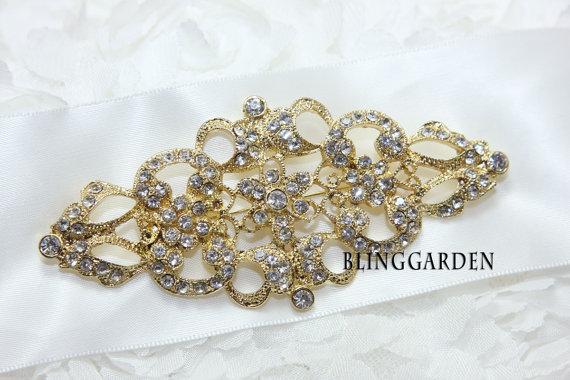 Wedding - Gold/Silver Sash, Vintage Style Rhombus Sash, Rhinestone Crystals Wedding Sash, Bridal Dress Belt, Satin Adornment Sash BRH00065