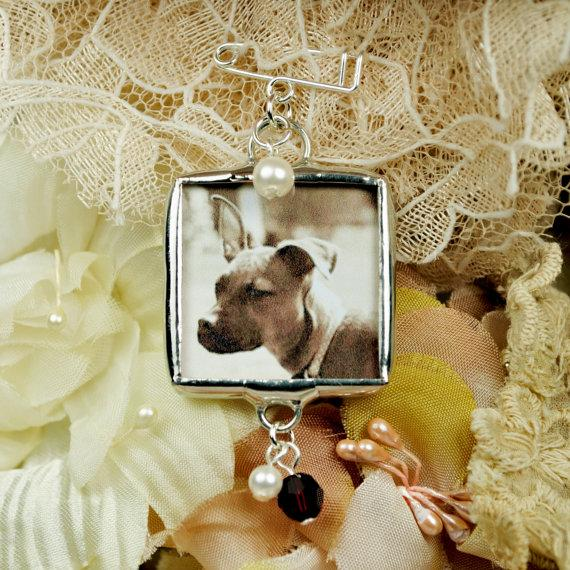 Mariage - Bouquet Charm with Pet Photo Boutonniere Pin Photo Frame