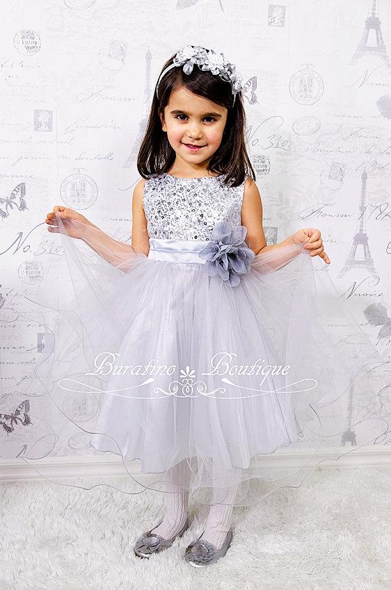 Свадьба - Flower Girl Dress Silver/Grey Sequin Mesh flower Girl Toddler Wedding Special Occasion Dress (ets0155sv)