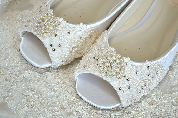 Mariage - Flat Peep Toe Wedding Shoes , Lace, Crystals, Pearls, Custom Colors, Lace, Wedding Flat Bridal Shoes.