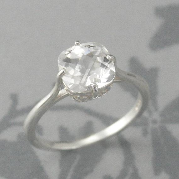 Antique Cushion Cut Flourish Engagement RingSterling Silver Faux