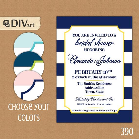 "Mariage - PRINTABLE 5x7"" Bridal Shower Invitation, Engagement Party Invitation - navy blue, yellow - nautical - 390"