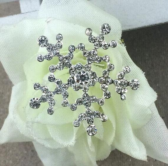 Wedding - Silver Snowflake W/ Clear Rhinestone Flat Back Rhinestone Alloy Embellishments For DIY Bling Accessories 24mm
