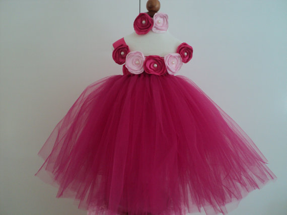 Mariage - Infant toddler Flower Girl Wedding Pageant Easter Shocking Hot Fuschia Pink Tutu Dress, Singed Satin Flowers, Made to Match Flower Headband