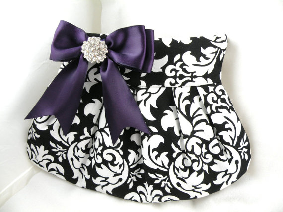 Mariage - Pleated Clutch Purse Evening Bag Wedding Bride Bridesmaid--Black and White DANDY DAMASK with Deep Purple Satin Bow and Crystal Button