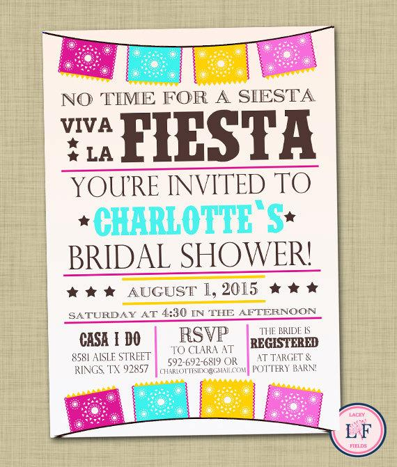Fiesta Bridal Shower Invitation Printable Wedding Shower Invite