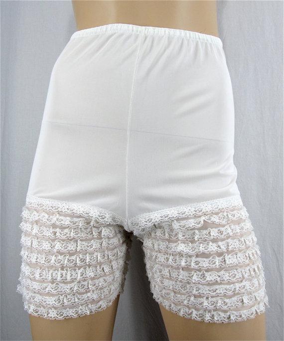 b9060f31e29 Vintage Ruffle Panties Pin Up Lingerie XS SMALL White Lace Sissy Bridal  Boho High Waist Panty Burlesque Dance Rockabilly Vintage Panties