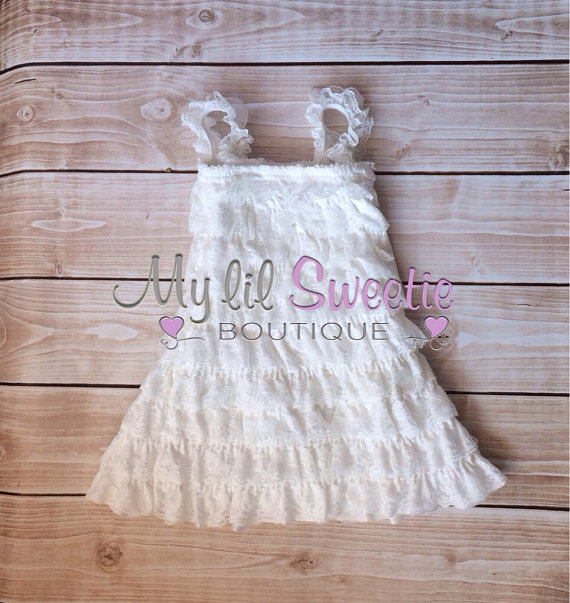 White Vintage Lace Petti Dress Baptism Outfit Christening Outfit