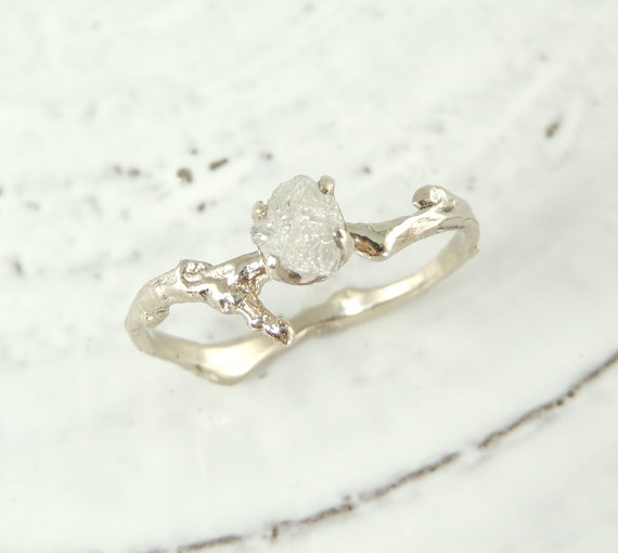 Uncut Diamond Branch Engagement Ring Handmade Diamond Engagement