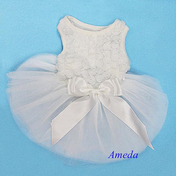 زفاف - White Rosettes Rose Elegant Wedding Tutu Small Dog Pet Clothes Party Dress XS-L [PETDJ07]