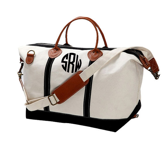 Monogram Canvas Weekender Bag - Large - Great Gift For Bridesmaids ...