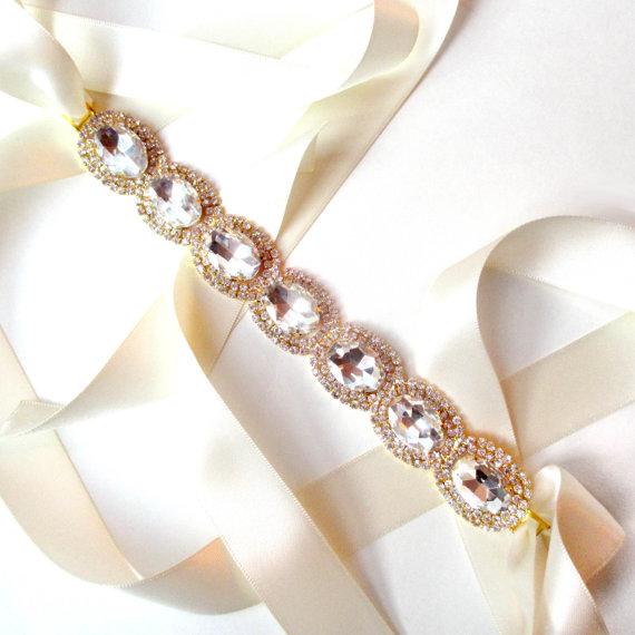 Exquisite bridal belt sash in gold custom ribbon white for Gold belt for wedding dress