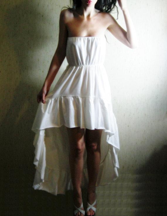 Boho Dreaming Organic Cotton Natural Ivory Strapless Bohemian Chic Hippie Wedding Sundress Hi Low Maxi Dress Xs Small