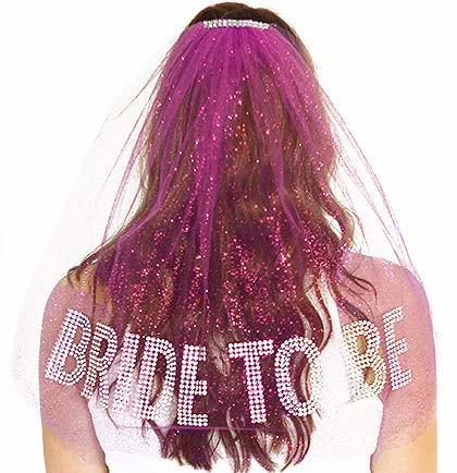 Mariage - Rhinestone Gem Bride To Be Sparkle Tulle Veil - Double Layer,  Bachelorette Party Veil, Pink Bachelorette Veil
