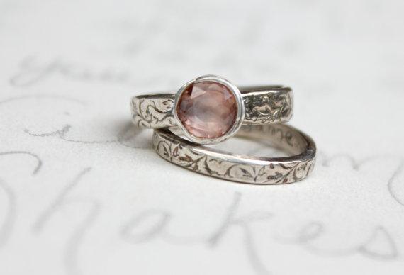 زفاف - sapphire engagement ring wedding band set. blush pink engagement ring . wuthering heights quote engraved ring set . unique engagement ring