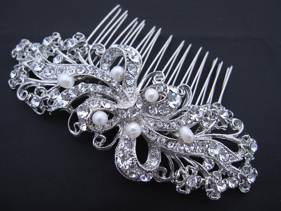 زفاف - bridal hair comb bridal hairpiece bridal headpiece bridal hair flower bridal hair clip bridal headband bridal hair accessories wedding