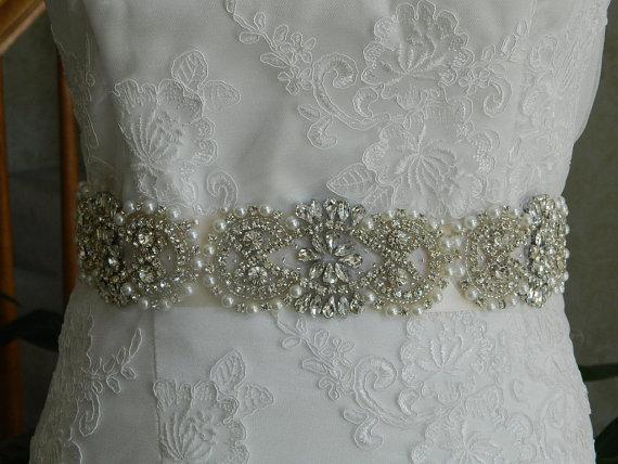 زفاف - Wedding Sash,Bridal Sash,Rhinestone Sash,Beaded Sash,-Federica- Ivory Sastin Sash