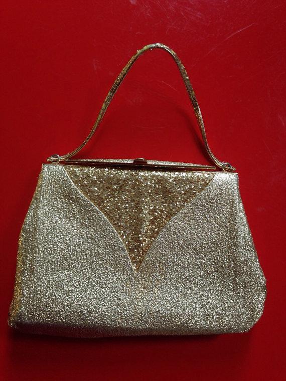 Mariage - Vintage gold glitter purse bag lame evening wedding clutch